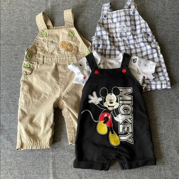Lot of 4 baby pieces, 3 overalls and 1 shirt